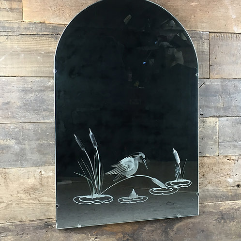 NOW SOLD - Engraved kingfisher decorative mirror