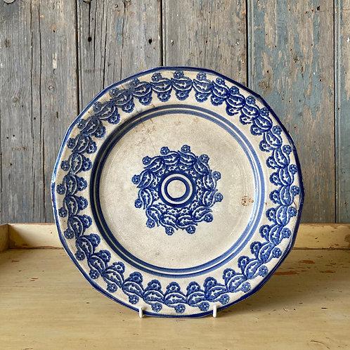 SOLD - Antique spongeware plate - 'Blue's