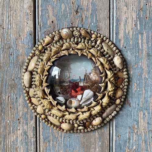 SOLD - Victorian sailor's shellwork valentine - 'Quayside'