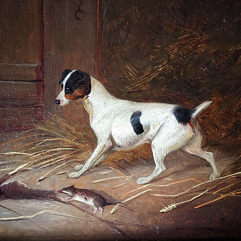 NOW SOLD - Antique oil painting - Terrier dog and rat