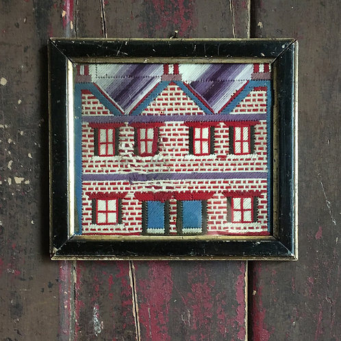 NOW SOLD - Naive woolwork house sampler