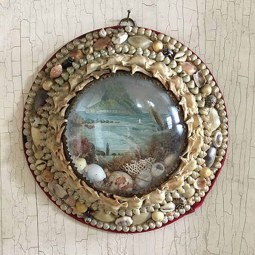 NOW SOLD - Victorian sailor's shell valentine - St Michael's Mount