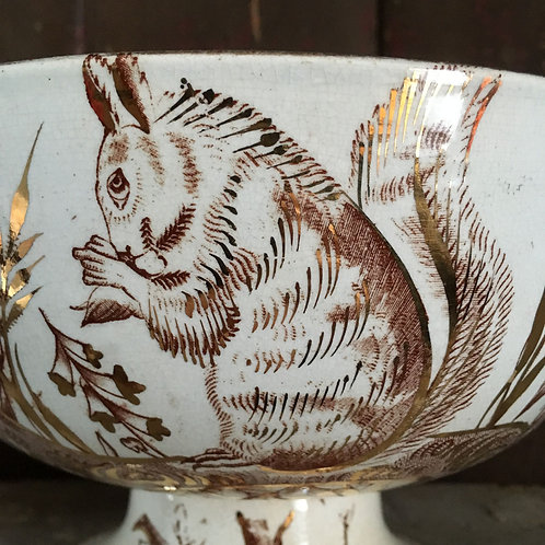 NOW SOLD - 19th C. 'squirrel' transfer-print bowl