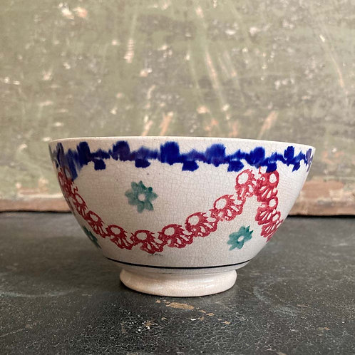 SOLD - Antique spongeware bowl - 'Red swags'