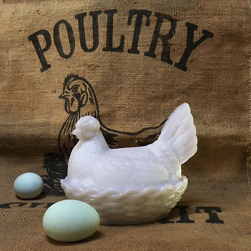 NOW SOLD - Victorian pressed glass hen