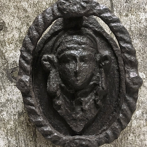 NOW SOLD - 19th C cast iron door knocker - mask