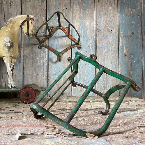 NOW SOLD - Two antique jockey saddle racks