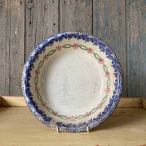 SOLD - Antique spongeware pottery bowl - blue edge