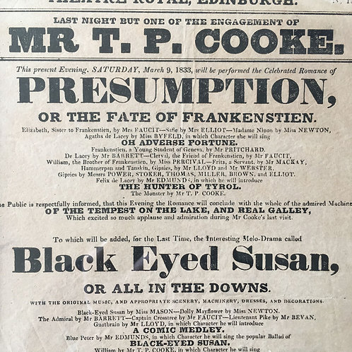 NOW SOLD - Antique Theatre Print - 'Black Eyed Susan and Frankenstien'