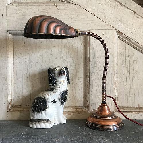 NOW SOLD - Vintage copper gooseneck desk lamp