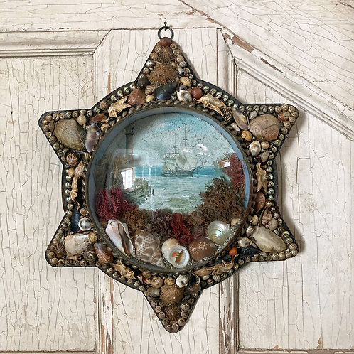 NOW SOLD - Victorian sailor's shell valentine - 'Lighthouse'