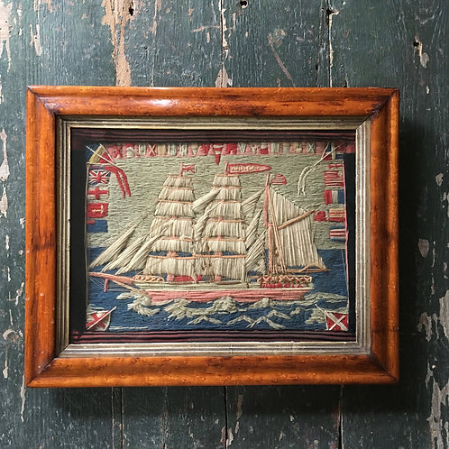 NOW SOLD - Antique sailor's woolwork - Barque Angola