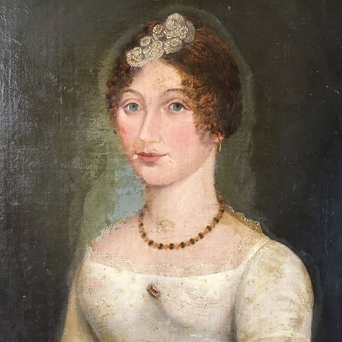 NOW SOLD - Regency oil painting of a young woman