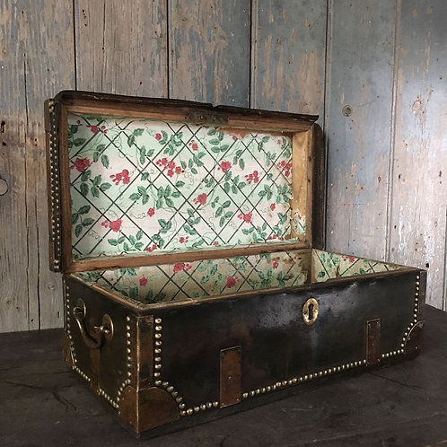NOW SOLD - 19th C studded leather trunk