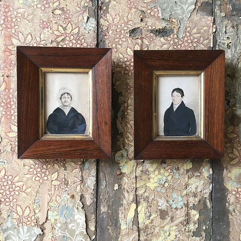 NOW SOLD - Pair of naive Scottish portrait paintings
