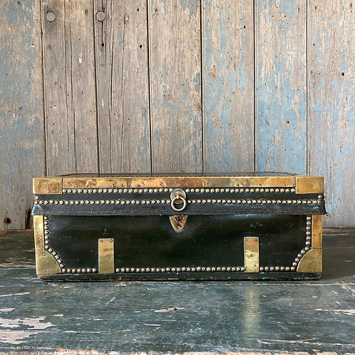 NOW SOLD - Regency leather camphor carriage trunk