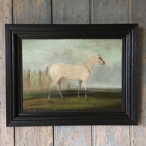 NOW SOLD - 19th C oil painting of a white horse