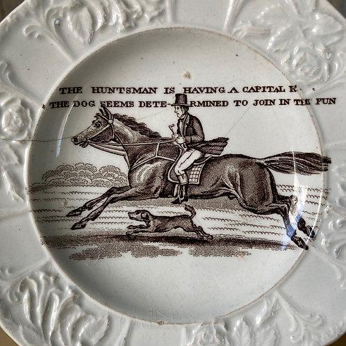 SOLD - 19th C. Child's nursery plate - 'Huntsman'