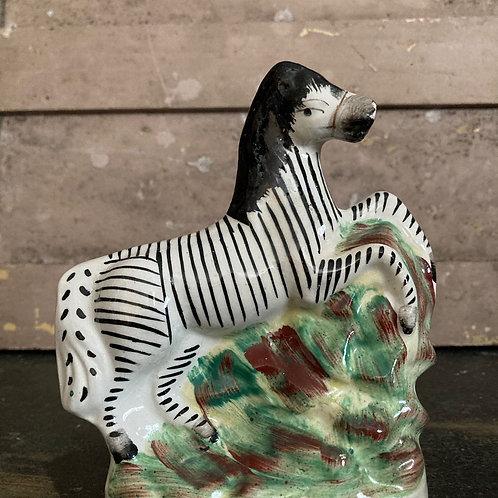SOLD - Victorian Staffordshire pottery zebra