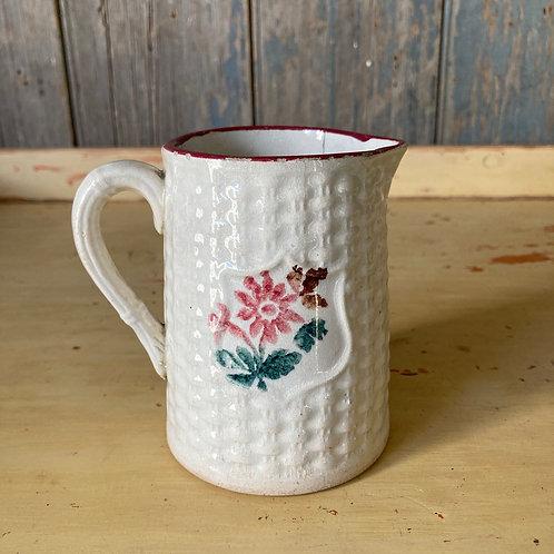 SOLD - Antique spongeware jug - 'Basketweave'