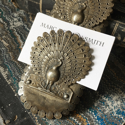 NOW SOLD - Aesthetic peacock visiting card rack