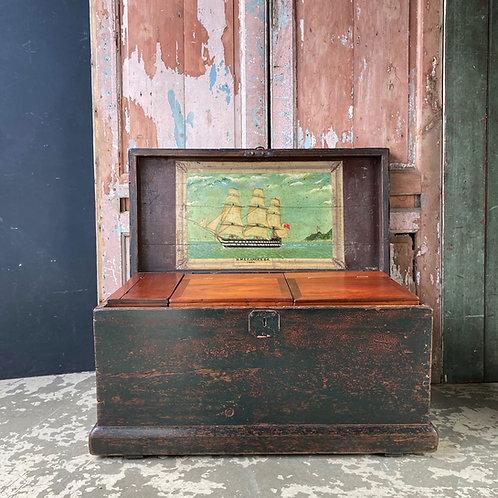 SOLD - Antique maritime seaman's chest - 'HMS Ganges'