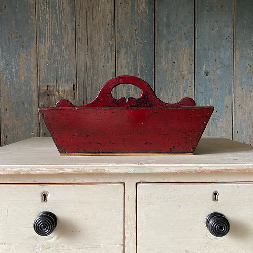NOW SOLD - Antique painted oak cutlery tray