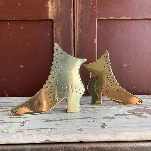 SOLD - Pair of folk art brass shoes