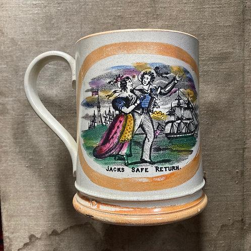 NOW SOLD - Antique Sunderland pottery frog mug - 'Jack's Safe Return'