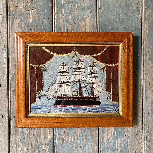 SOLD - Antique sailor's woolwork ship