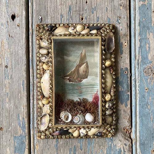 SOLD - Victorian sailor's shellwork valentine - Rectangle #1