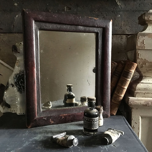 NOW SOLD - Antique leather frame mirror