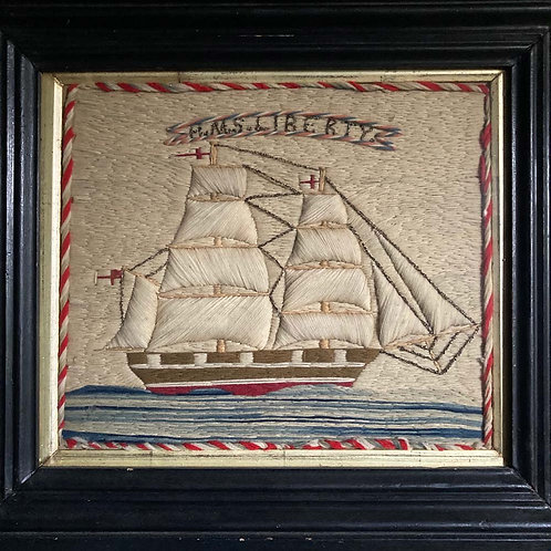 SOLD - Antique sailor's woolwork - 'HMS Liberty'