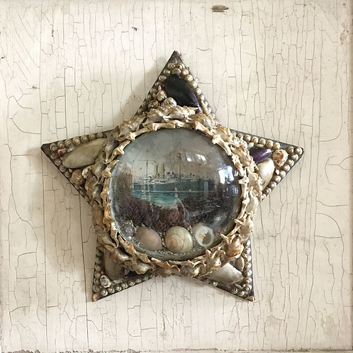 NOW SOLD - Victorian sailor's shell valentine - battleship