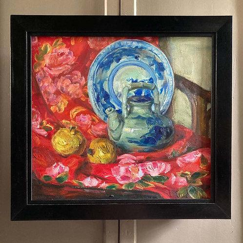 SOLD - Still life oil painting - 'Oriental teapot'