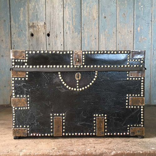 NOW SOLD - 19th C studded leather camphor wood trunk