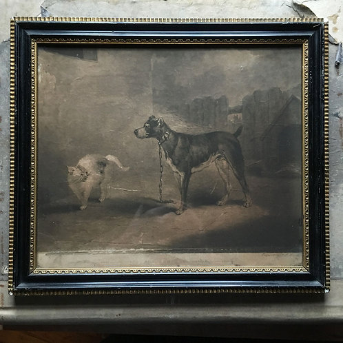 NOW SOLD - 18th C dog and cat print