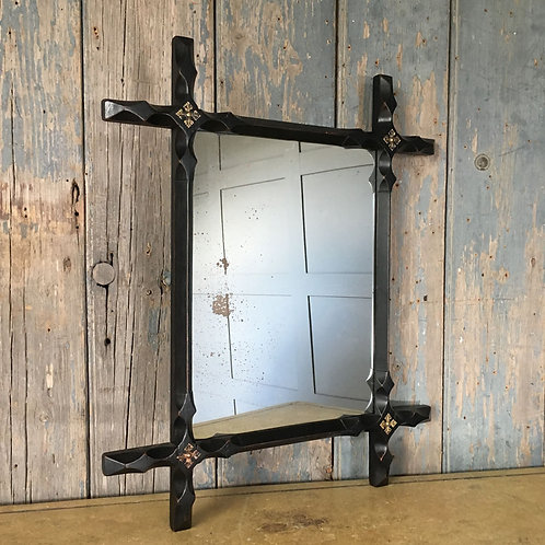 SOLD - Ebonised chapel mirror (small)
