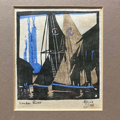 SOLD - Art Deco woodcut print - 'London River'