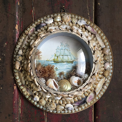 NOW SOLD - Victorian sailor's shell valentine - 'Sailing ship'