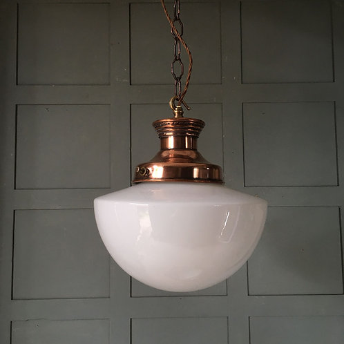 NOW SOLD Large opaline glass pendant light