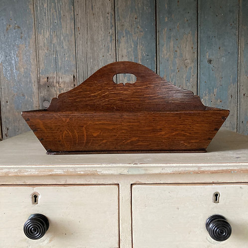SOLD - Antique oak cutlery tray