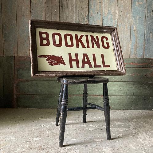 Edwardian railway enamel sign - 'Booking Hall'