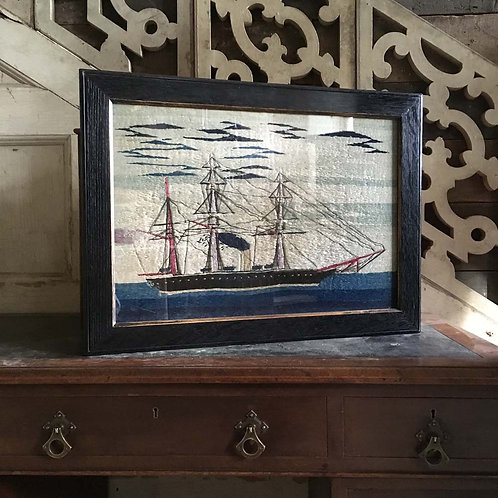 NOW SOLD - 19th century sailor's woolwork - steamship