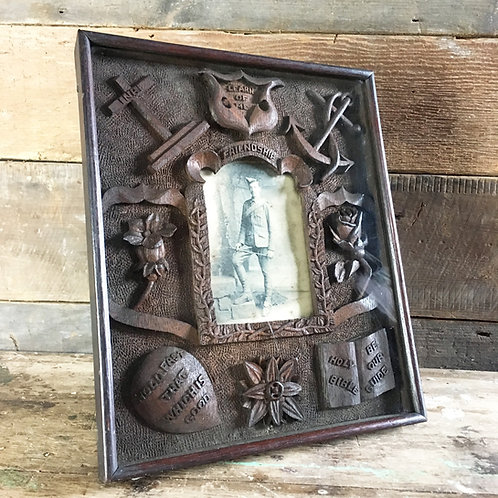 Antique folk art carved frame - soldier