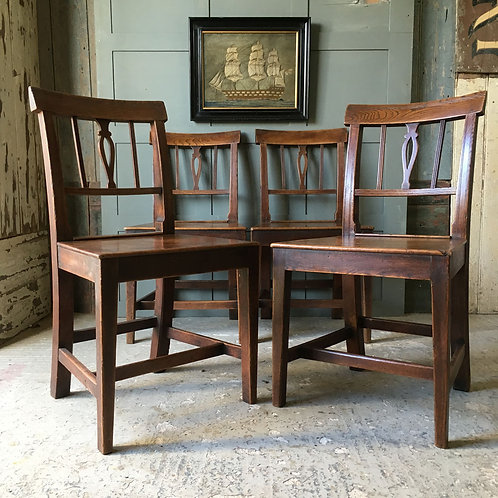 NOW SOLD - Four Georgian elm dining chairs
