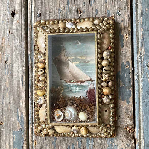 SOLD - Victorian sailor's shellwork valentine - Rectangle #2
