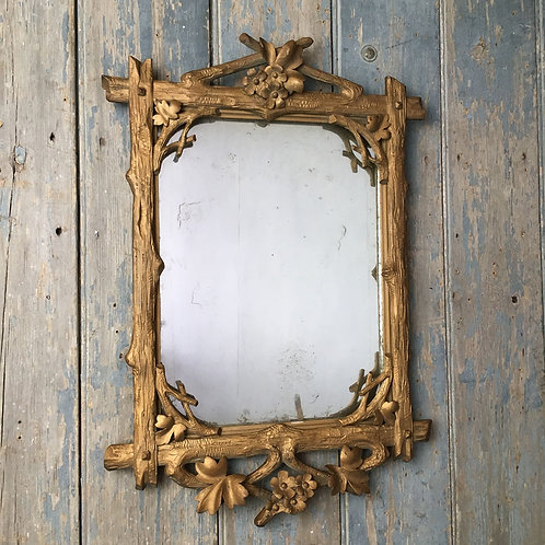 NOW SOLD - 19th century carved faux-bois mirror