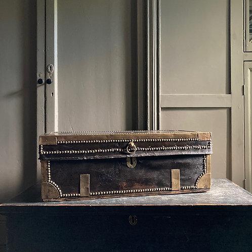 Regency studded leather trunk
