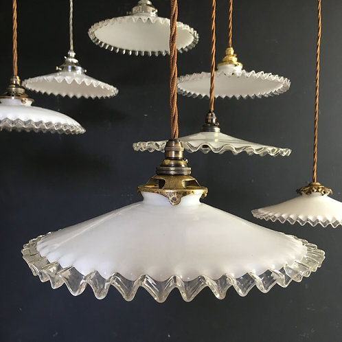 NOW SOLD - Vintage French glass pendant light